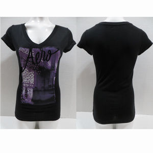 Aeropostale top Large v-neck graphic glitter logo